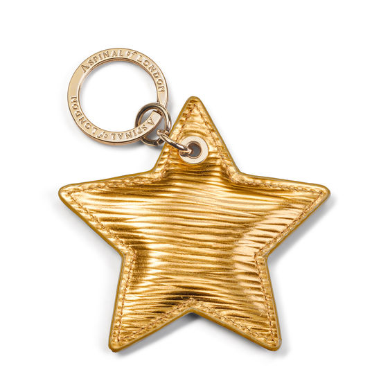 Star Leather Keyring in Zoloto Metallic from Aspinal of London