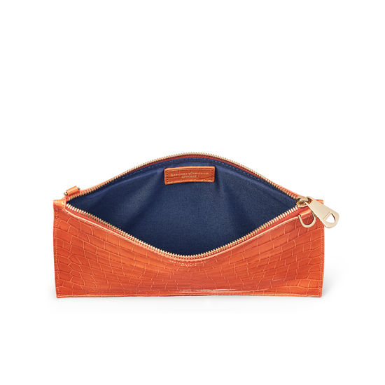 Soho Bag in Deep Shine Marmalade Small Croc from Aspinal of London