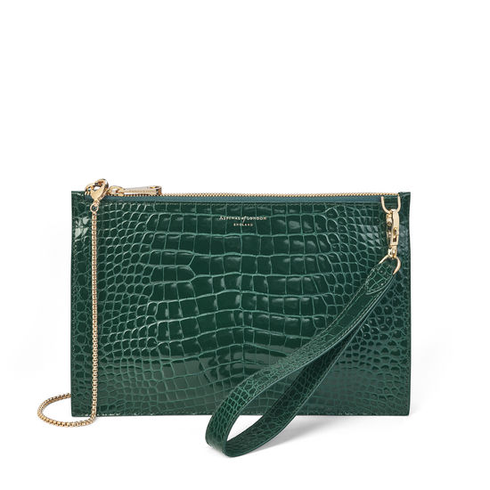 Soho Bag in Evergreen Patent Croc from Aspinal of London