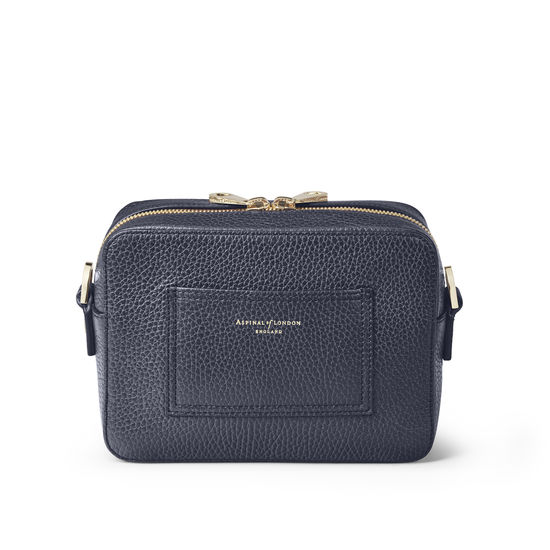 Camera 'A' Bag in Navy Pebble from Aspinal of London