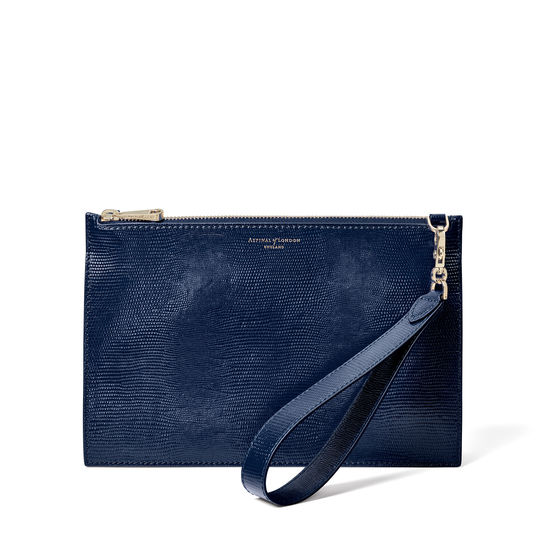 Soho Bag in Midnight Blue Silk Lizard from Aspinal of London