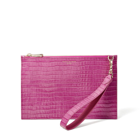 Soho Bag in Deep Shine Hibiscus Small Croc from Aspinal of London