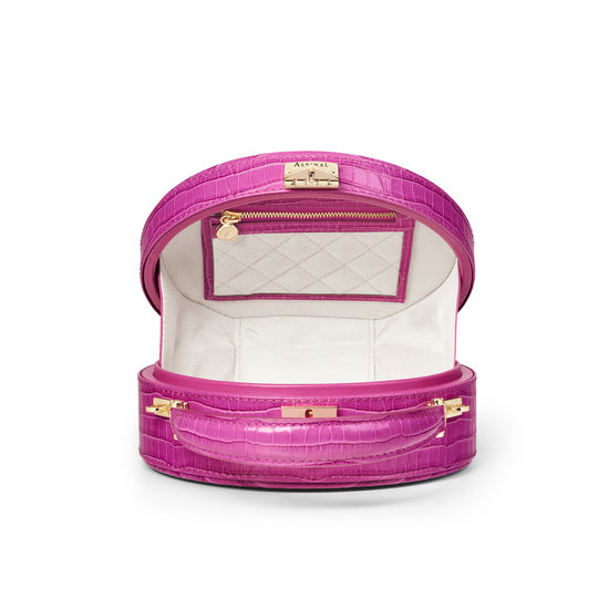 Hat Box in Deep Shine Hibiscus Small Croc from Aspinal of London