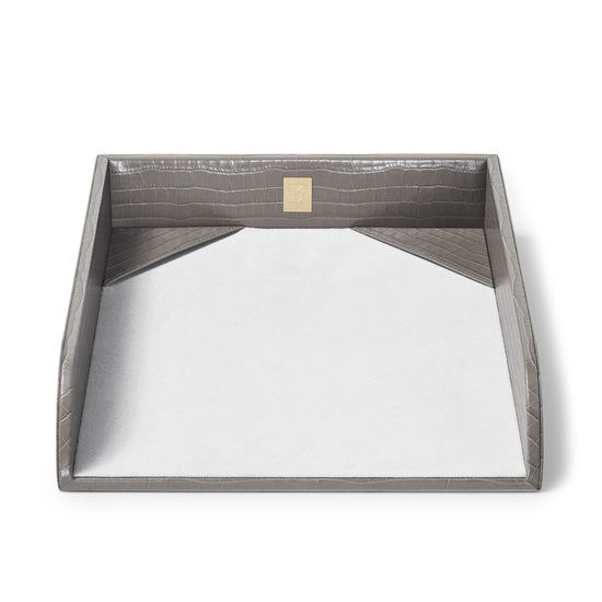 Paper Tray in Deep Shine Warm Grey Small Croc from Aspinal of London