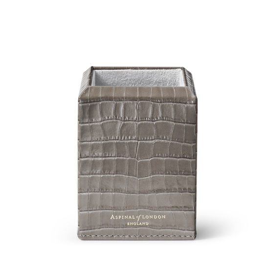 Square Pen Pot in Deep Shine Warm Grey Small Croc from Aspinal of London