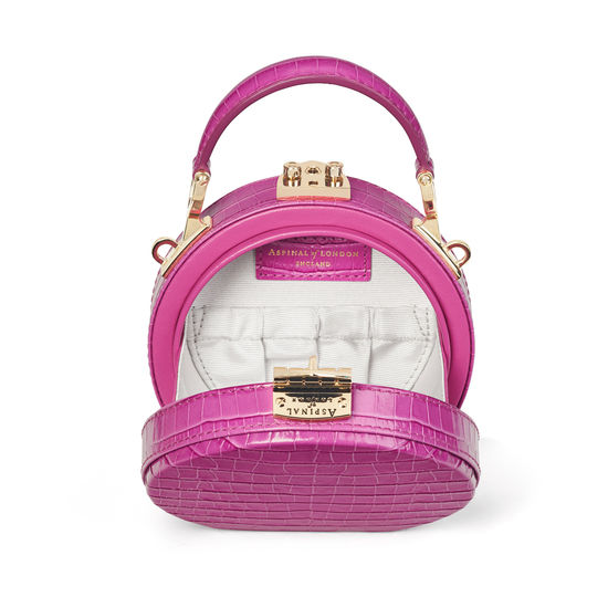Micro Hat Box in Deep Shine Hibiscus Small Croc from Aspinal of London