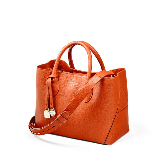 Midi London Tote in Marmalade Pebble from Aspinal of London