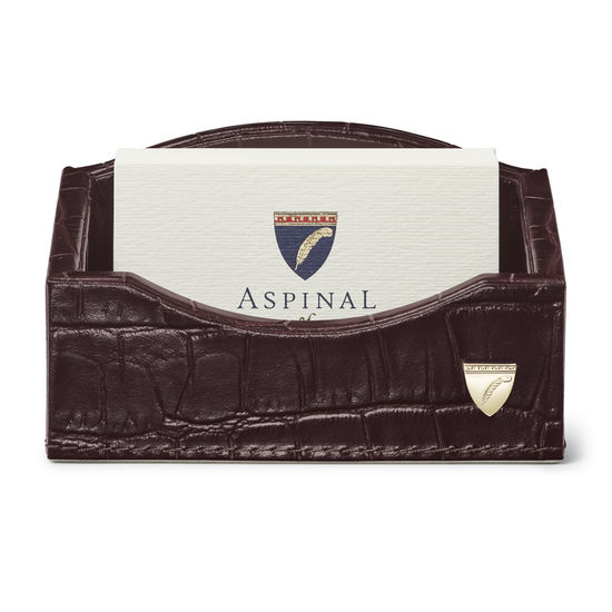 Business Card Holder in Deep Shine Amazon Brown Croc & Stone Suede from Aspinal of London