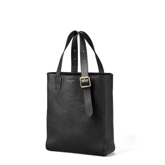 Small Editor's 'A' Tote in Black Pebble from Aspinal of London