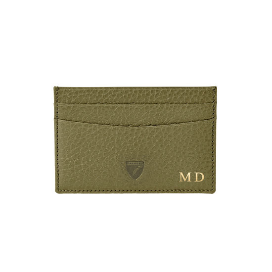 Slim Credit Card Holder in Olive Pebble from Aspinal of London