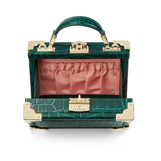 Micro Trunk in Evergreen Patent Croc from Aspinal of London