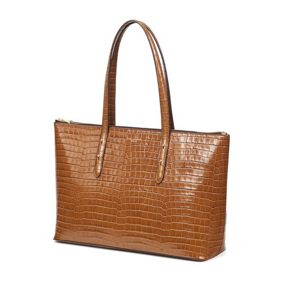 Zipped Regent Tote in Deep Shine Vintage Tan Small Croc from Aspinal of London