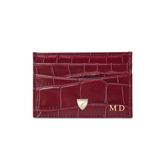 Slim Credit Card Holder in Deep Shine Bordeaux Croc from Aspinal of London
