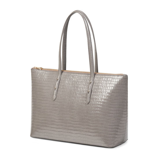 Zipped Regent Tote in Deep Shine Warm Grey Small Croc from Aspinal of London