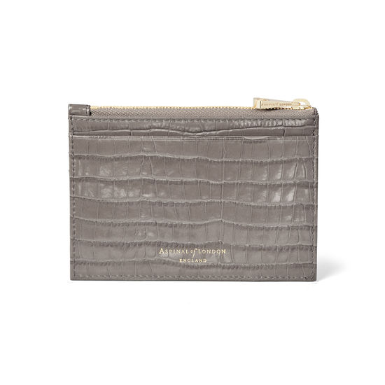Double Sided Zipped Card & Coin Holder in Deep Shine Warm Grey Small Croc from Aspinal of London