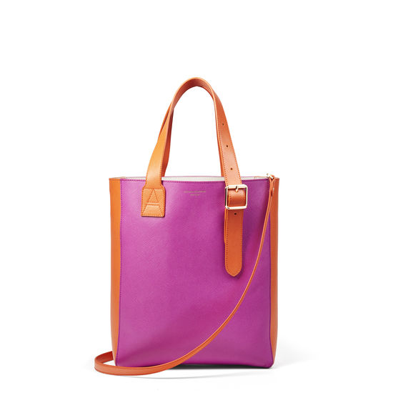 Small Editor's 'A' Tote in Hibiscus & Orange Saffiano from Aspinal of London