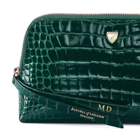 Small Essential Cosmetic Case in Evergreen Patent Croc from Aspinal of London