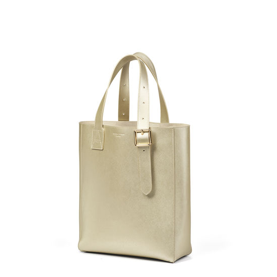 Small Editor's 'A' Tote in Gold Saffiano from Aspinal of London