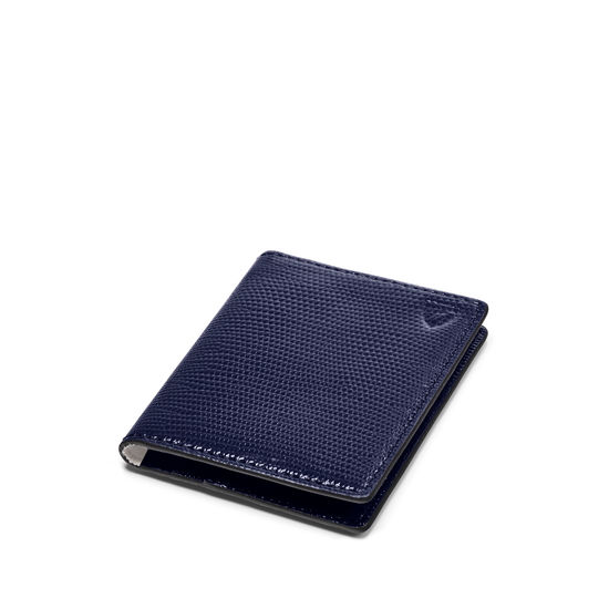 ID & Travel Card Holder in Midnight Blue Silk Lizard from Aspinal of London