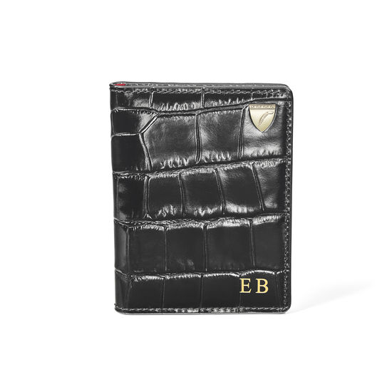 ID & Travel Card Holder in Deep Shine Black Croc from Aspinal of London