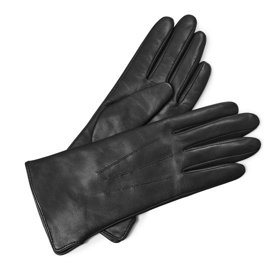 Ladies' Cashmere Lined Leather Gloves in Black Nappa from Aspinal of London