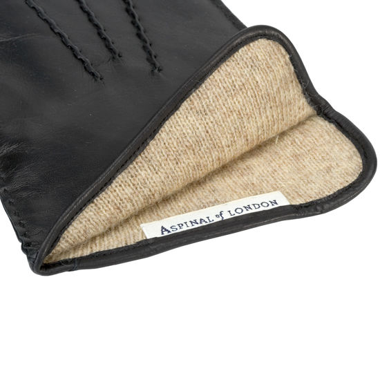 Men's Cashmere Lined Leather Gloves in Black Nappa from Aspinal of London