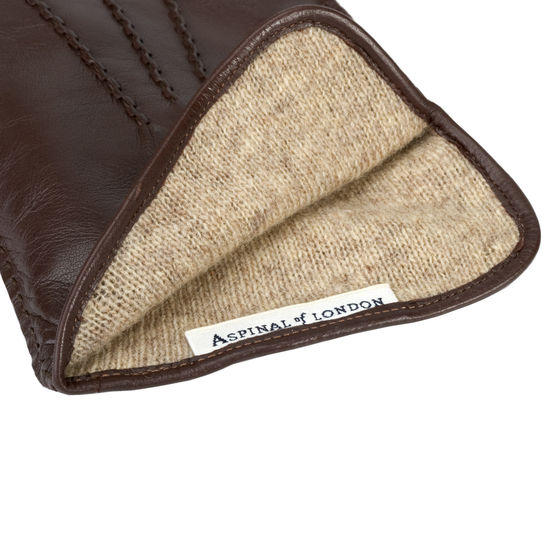 Men's Cashmere Lined Leather Gloves in Brown Nappa from Aspinal of London