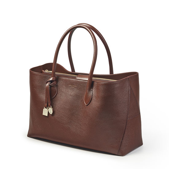 London Tote in Chestnut Pebble from Aspinal of London