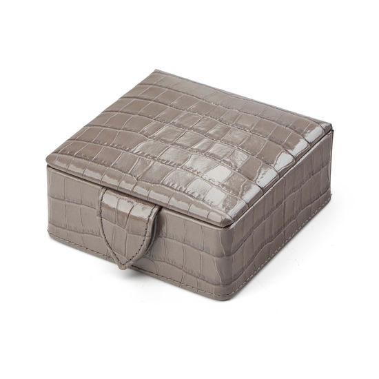 Stud Box in Deep Shine Warm Grey Small Croc from Aspinal of London
