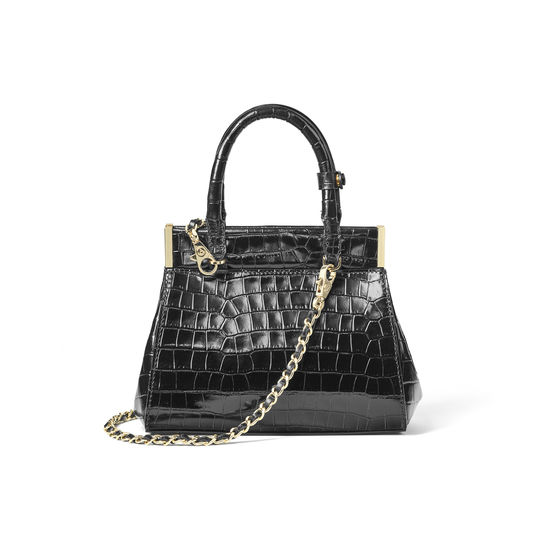 Grace Bag in Deep Shine Black Small Croc from Aspinal of London