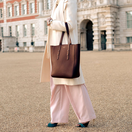 Essential Tote in Chestnut Pebble from Aspinal of London