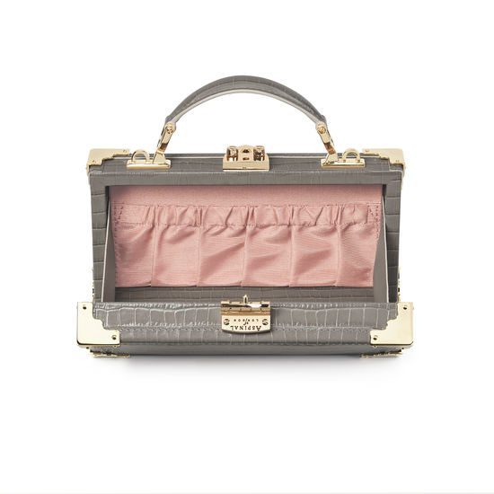 Trinket Box in Deep Shine Warm Grey Small Croc from Aspinal of London