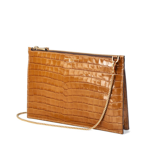 Soho Bag in Deep Shine Vintage Tan Small Croc from Aspinal of London
