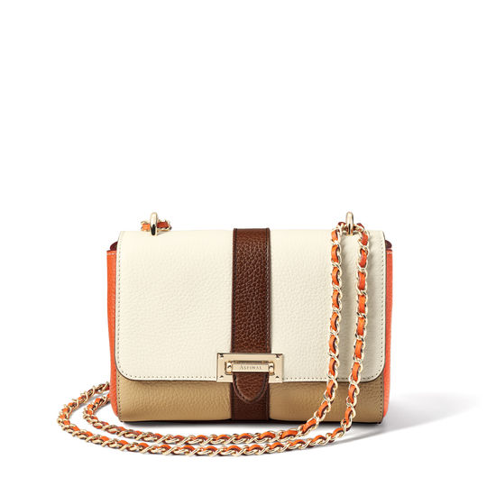 Lottie Bag in Chestnut, Sand, Ivory & Marmalade Pebble from Aspinal of London