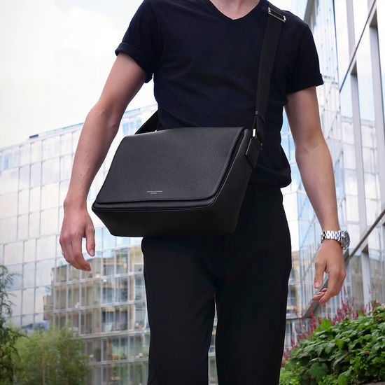 Reporter Messenger Bag in Black Pebble from Aspinal of London