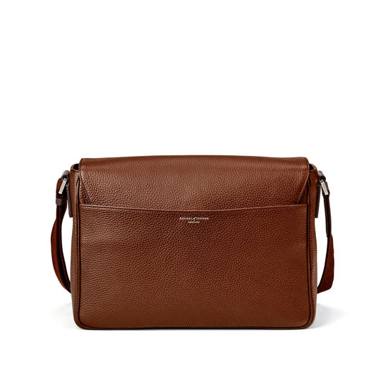 Reporter Messenger Bag in Tobacco Pebble from Aspinal of London