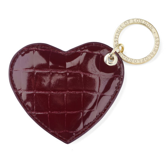 Heart Keyring in Bordeaux Patent Croc from Aspinal of London