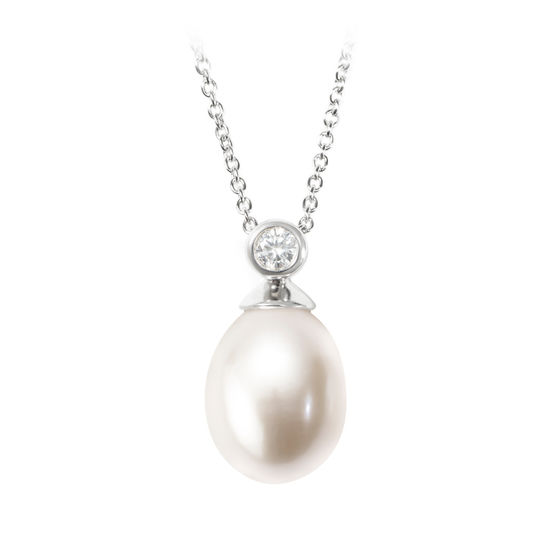 Arabella Teardrop Pearl & Diamond Pendant Necklace from Aspinal of London