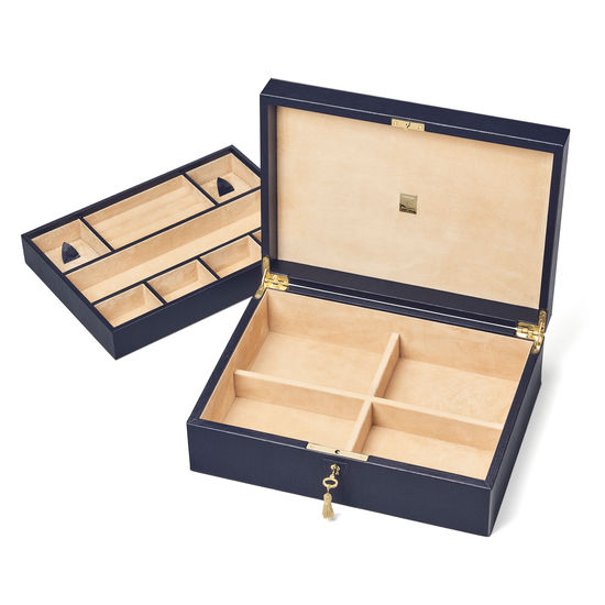 Grand Luxe Jewellery Case in Midnight Blue Silk Lizard from Aspinal of London