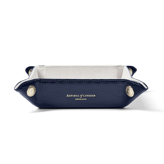 Mini Tidy Tray in Midnight Blue Silk Lizard from Aspinal of London