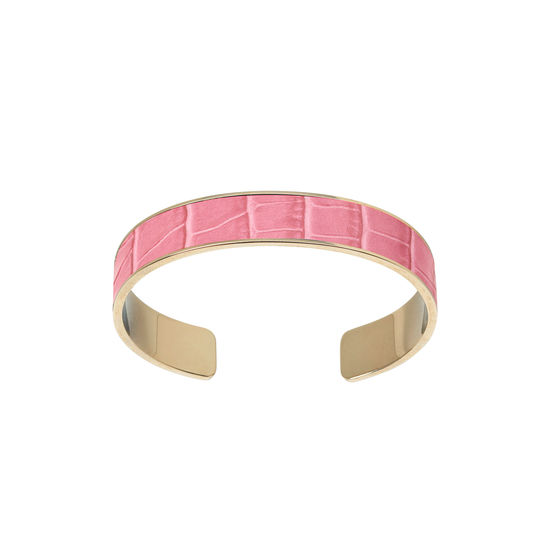 Cleopatra Skinny Cuff Bracelet in Deep Shine Tea Rose Small Croc from Aspinal of London