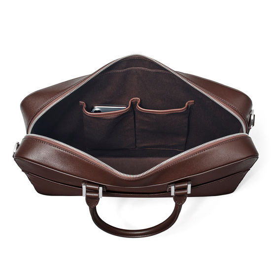 Small Mount Street Laptop Bag in Brown Saffiano & Smooth Brown from Aspinal of London