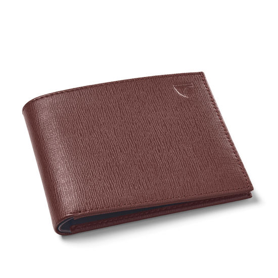 8 Card Billfold Wallet in Brown Saffiano & Smooth Brown from Aspinal of London