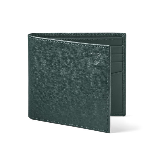 8 Card Billfold Wallet in Green Saffiano & Smooth Green from Aspinal of London