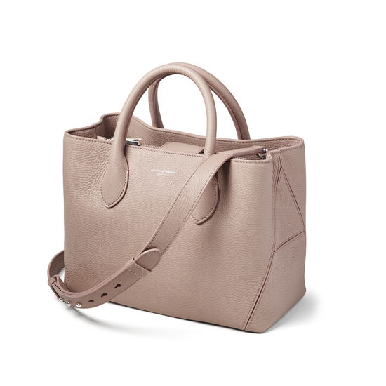 Midi London Tote in Soft Taupe Pebble from Aspinal of London