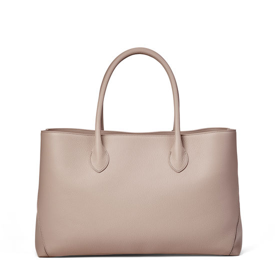 London Tote in Soft Taupe Pebble from Aspinal of London