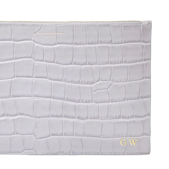 Large Essential Flat Pouch in Dove Grey Croc from Aspinal of London