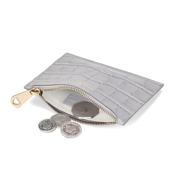 Small Essential Flat Pouch in Dove Grey Croc from Aspinal of London