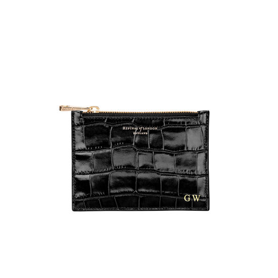 Small Essential Flat Pouch in Deep Shine Black Croc from Aspinal of London