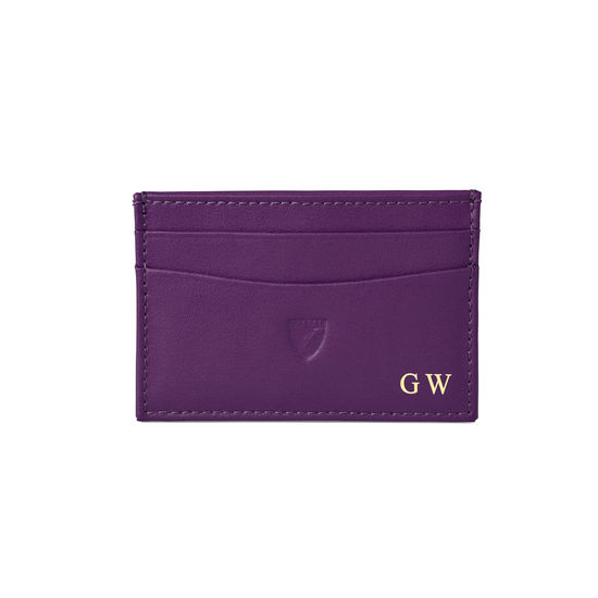 Slim Credit Card Case in Smooth Amethyst from Aspinal of London